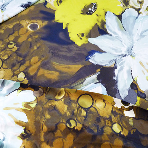 watercolor floral silk charmeuse blue gold black brown