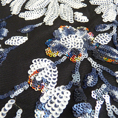 sequin net floral spray fabric black