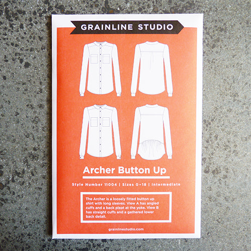 grainline studio archer button up shirt sewing pattern
