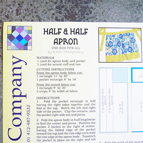 the Quilt Company Half and Half Apron sewing pattern