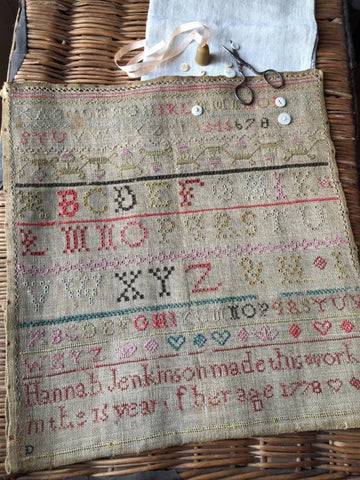 Counted Cross Stitch Pattern: Hannah Jenkinson Sampler 1778
