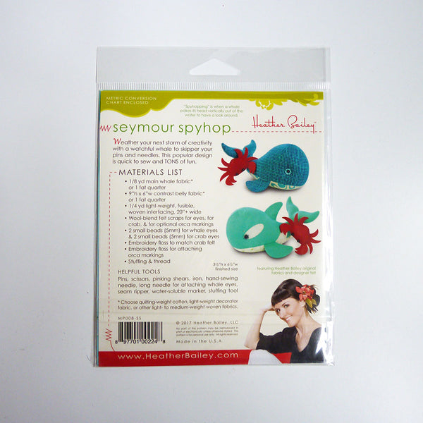 Heather Bailey Patterns : Seymour Spyhop whale pincushion
