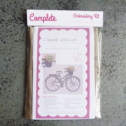 i heart stitch art embroidery kit bicycle