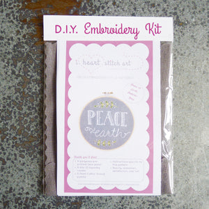 i heart stitch art peace on earth embroidery kit