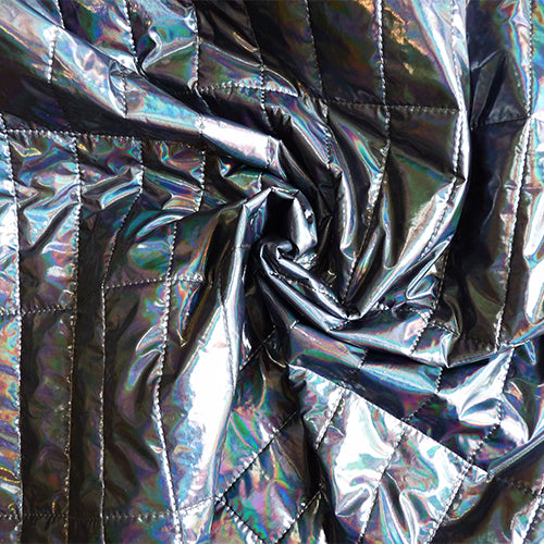 irridescent puffer jacket fabric blue rainbow