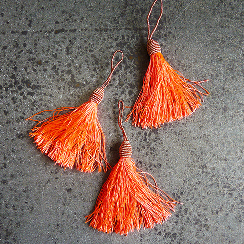 hot coral corded tassel