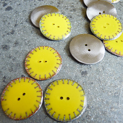 recycled metal bottle cap crown button yellow 2 hole