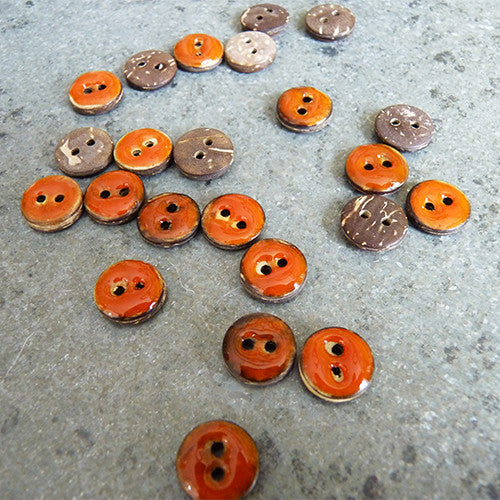 coconut resin button orange