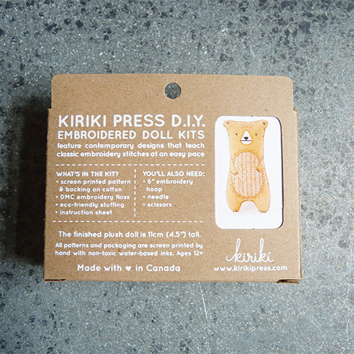 Kiriki Press Embroidered Doll Kit - Bear Thumbnail