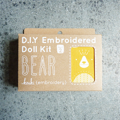 kiriki press embroider stuffed bear doll kit