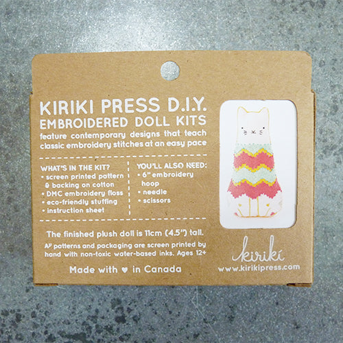 Kiriki Press Embroidered Doll Kit - Fiesta Cat Thumbnail