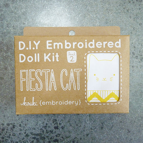 kiriki press embroider stuffed fiesta cat doll kit