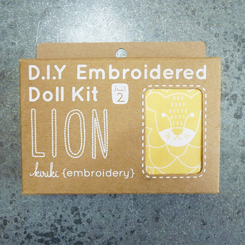 kiriki press embroider stuffed lion doll kit