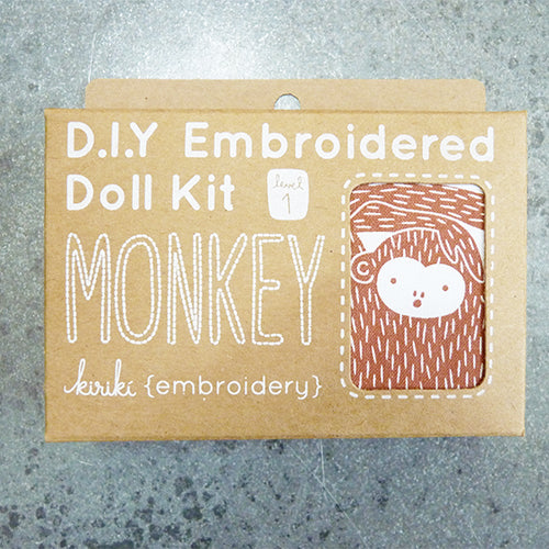kiriki press embroider stuffed monkey doll kit