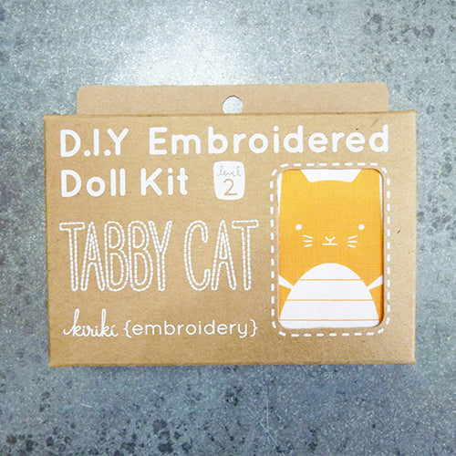 kiriki press embroider stuffed tabby cat doll kit