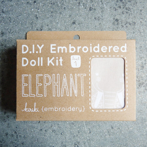 kiriki press embroider stuffed elephant doll kit