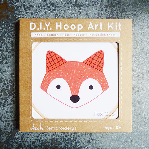 kiriki press embroidery hoop art kit fox