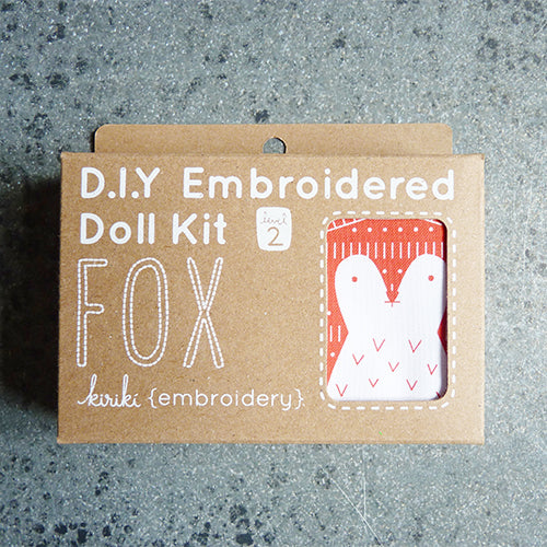 kiriki press embroider stuffed fox doll kit