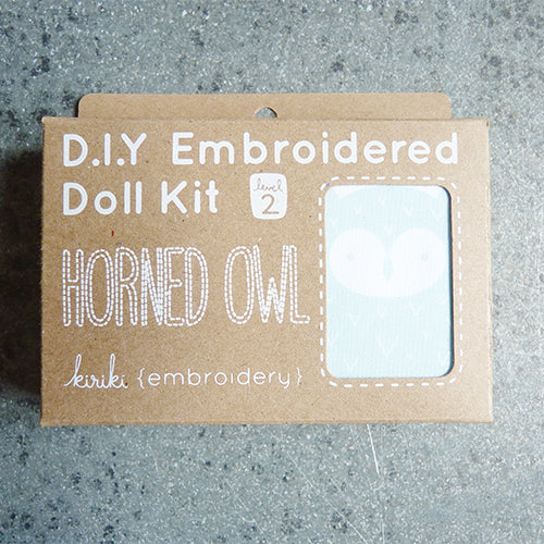kiriki press embroider stuffed horned owl doll kit