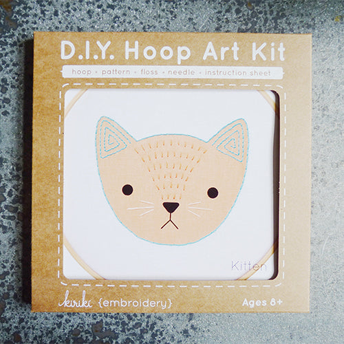 kiriki press embroidery hoop art kit kitten cat