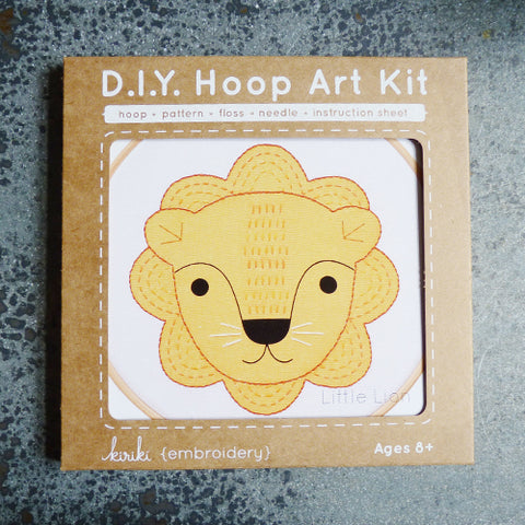 kiriki press embroidery hoop art kit lion