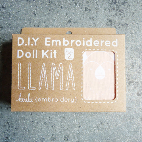kiriki press embroider stuffed llama doll kit