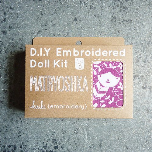 kiriki press embroider stuffed matryoshka doll kit