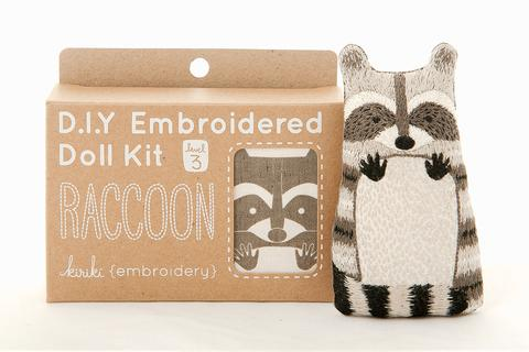 kiriki press embroiderd doll raccoon kit