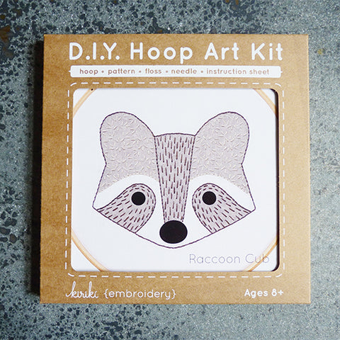 kiriki press embroidery hoop art kit raccoon
