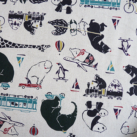 kokka riding cotton linen canvas animals