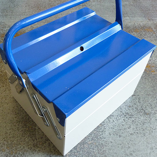 Metal Tool Box - Light Grey with Blue Lid