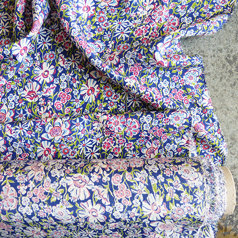 liberty of london kensington silk crepe de chine white garden purple floral