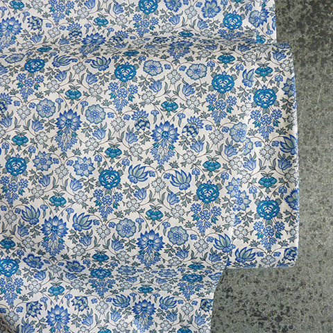 liberty of london cotton tana lawn palampore blue floral