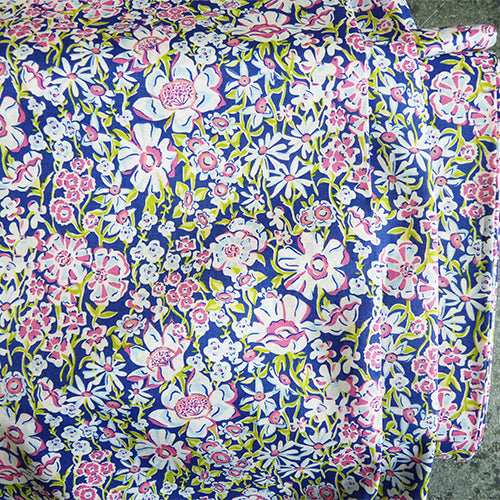 liberty of london cotton tana lawn white garden purple floral