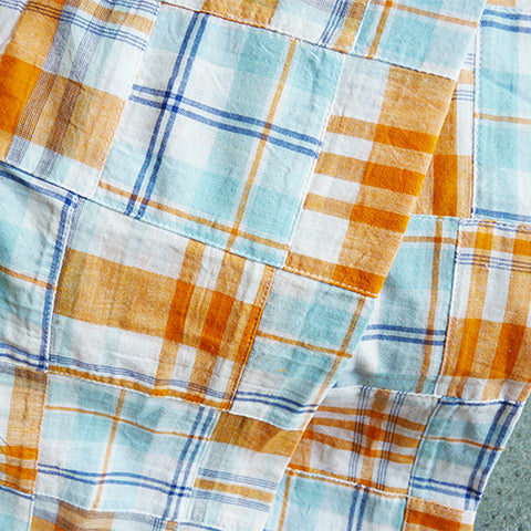 Cotton Patchwork Madras - Orange / Blue