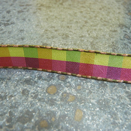 may arts stitched edge check ribbon