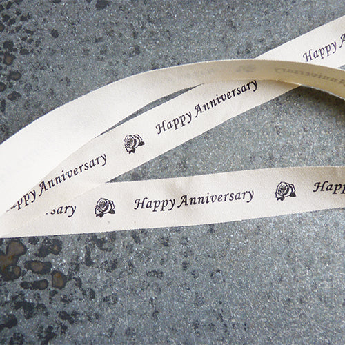 may arts ivory cotton ribbon happy anniversary