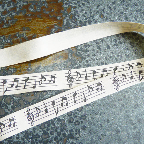 may arts ivory cotton ribbon music notes