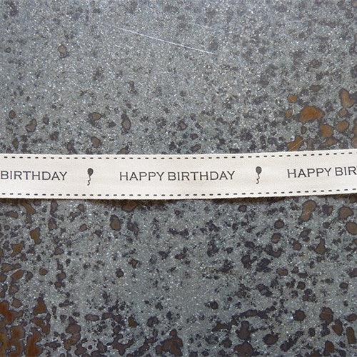 May Arts Ribbon : Ivory Canvas Ribbon - Happy Birthday