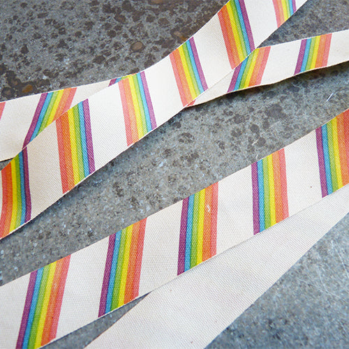May Arts Ribbon : Ivory Canvas Ribbon - Rainbows