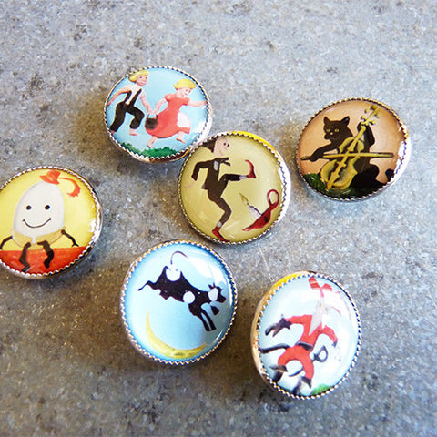 enameled nursery rhyme buttons