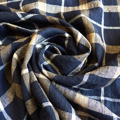 merchant and mills european linen navy check gingham phoebe