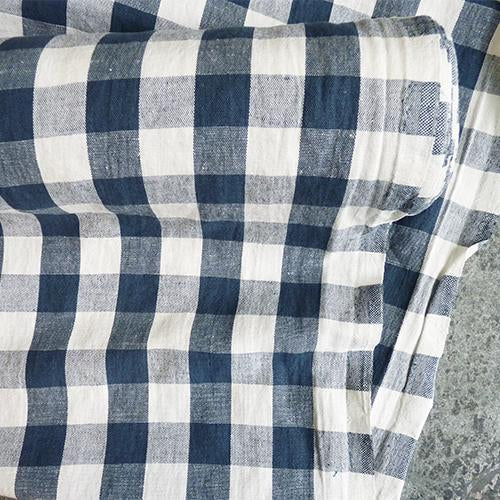merchant mills garden party linen cotton gingham blue petrol