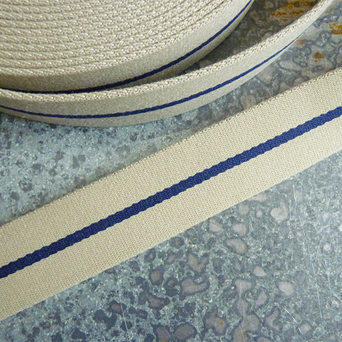 merchant and mills webbing strap beige navy stripe