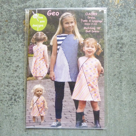 olive ann geo dress tunic leggings sewing pattern