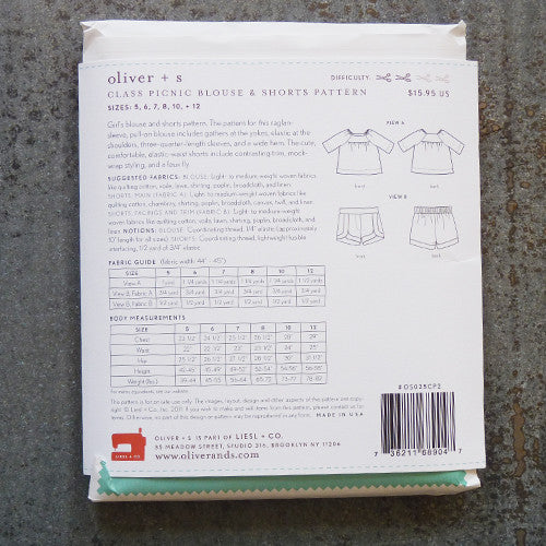 oliver + s Patterns : Class Picnic Blouse & Shorts sewing pattern back