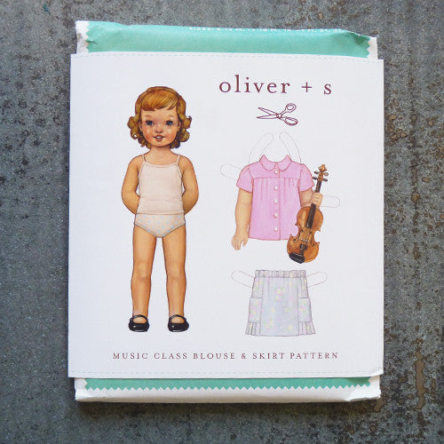 oliver + s music class blouse and skirt sewing pattern front