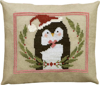 Counted Cross-Stitch Pattern: Pinny Penguin's Heart of Christmas