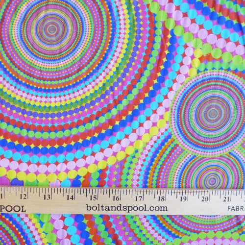 polyester crepe multicolor circles