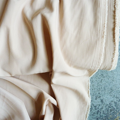 polyester crepe de chine beige nude